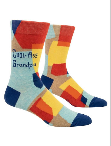 """Cool ass grandpa"" Blue Q men's socks"