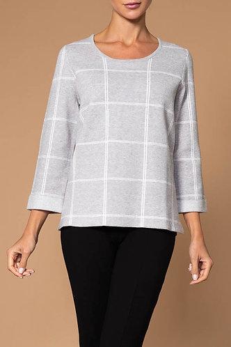 Elena Wang Silver Grid Sweater