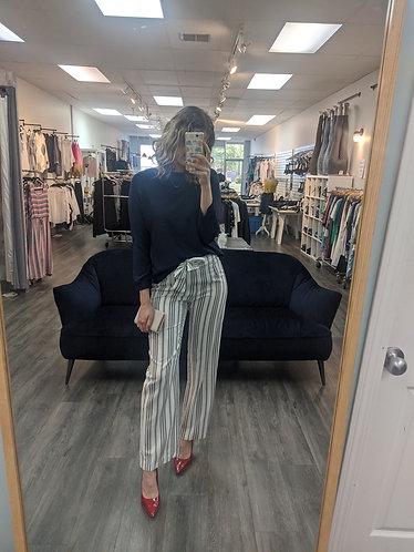 Vertical striped dress pants