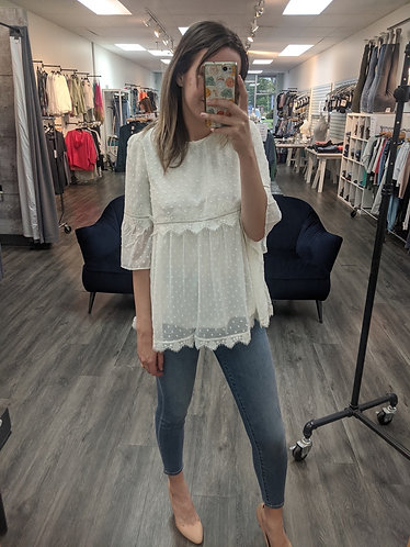 White peasant blouse with 3/4 sleeve