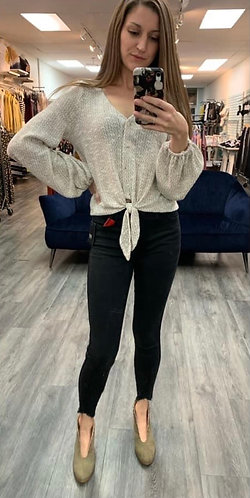 Oatmeal soft tie top
