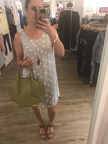 Light Grey Silk Polka Dot Dress