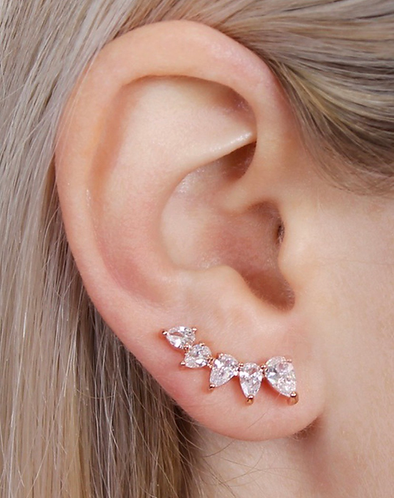 Gold climber earrings