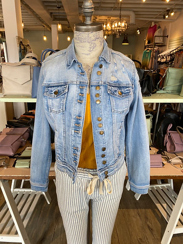 Multi button 4 way stretch denim jacket