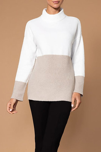 Elena Wang Cream And Taupe Sweater