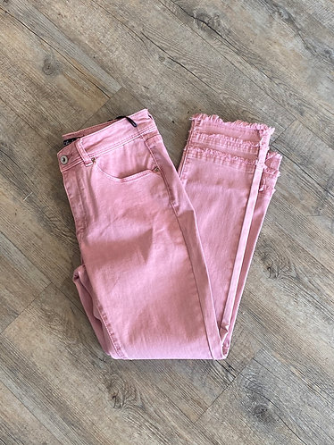 Charlie B pink jeans with ruffle at ankle