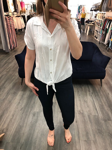 Embroidered tie blouse