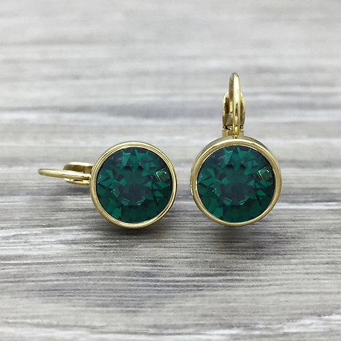 Emerald/gold  Swarovski leverback earrings