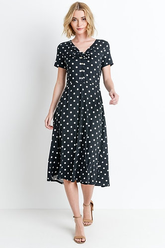 Black poka dot dress