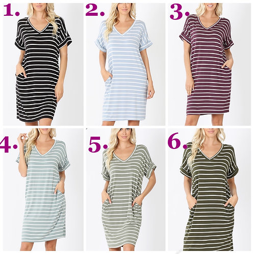 Knee length striped dress with pockets