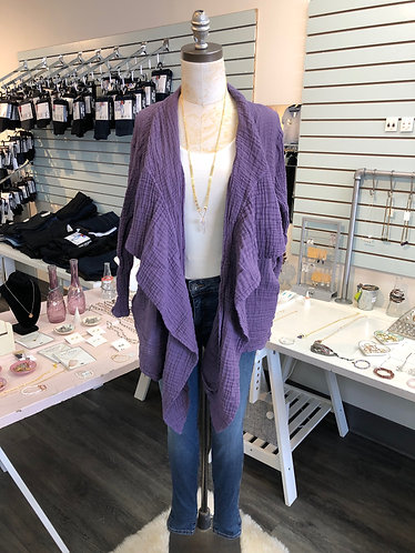 Purple Cotton Crinkle Cardi