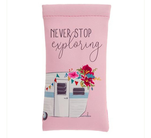 """Never stop exploring"" glasses case"