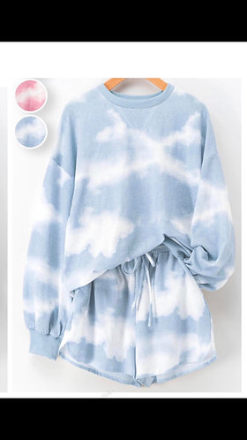 Blue Tie Dye Sweater And Short Set