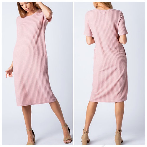 Ribbed dusty rose dress