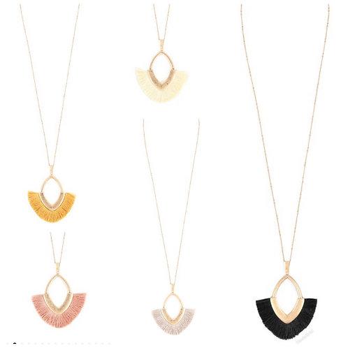 Oval long tassel necklace