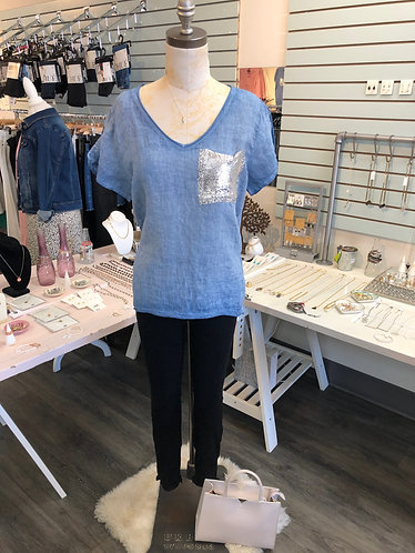 Blue Linen Top With Mesh Pocket