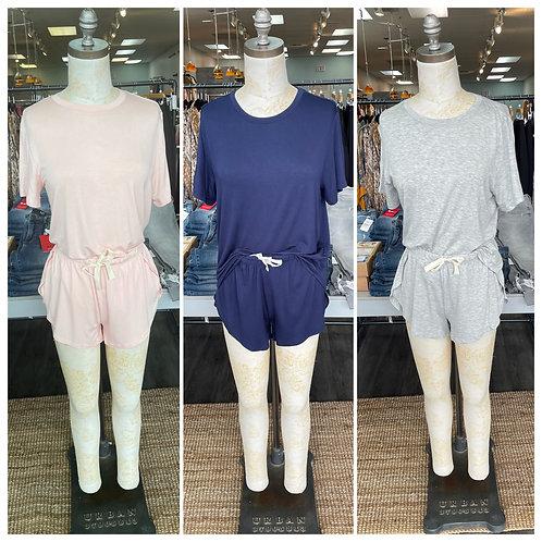 Latte love shorts/tee shirt sets