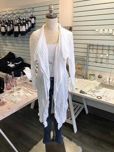 White Long Cotton Crinkle Cardi