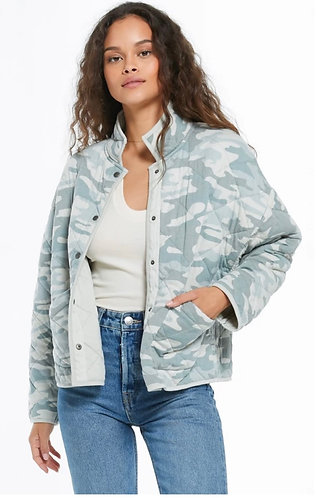 sage green camo quilted jacket
