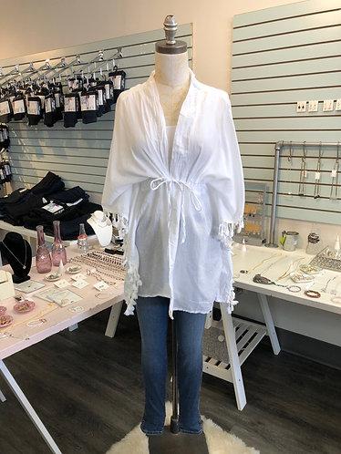 White Cottono Kimono Cardi