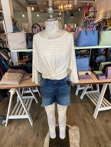 Mustard/cream striped knot top