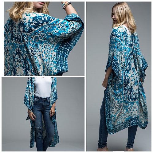 Blue and white kimono one size