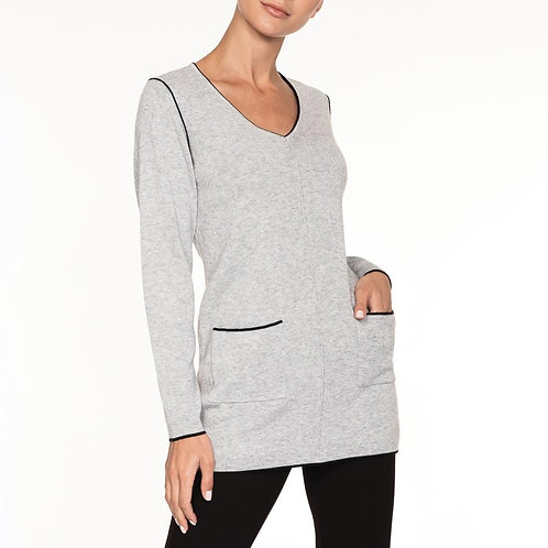 Alison Sheri Grey V Neck Sweater With Pockets