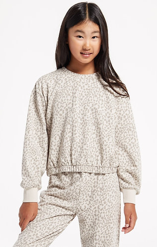 Z supply girls leopard print top