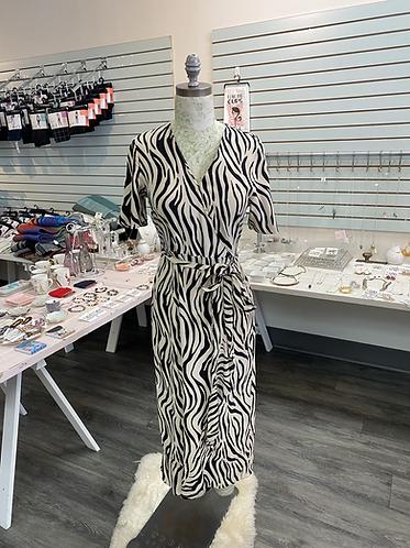 Zebra dress with tie