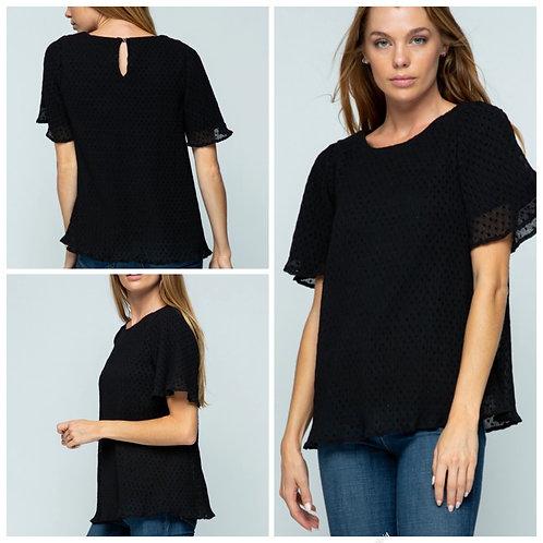 Black poka dot blouse