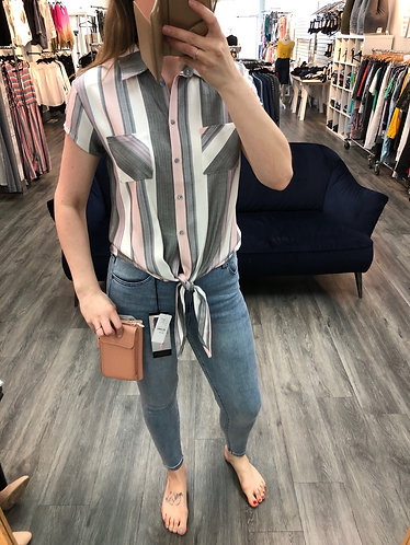 Vertical striped Charlie b tie blouse
