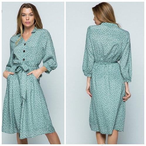 Green poka dot wrap dress