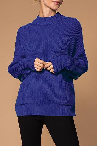 Blue Ribbed Elena Wang Sweater With Pockets