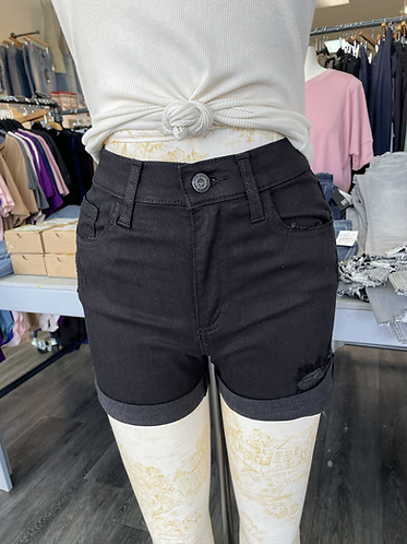 Sneak peek black distressed high rise denim shorts