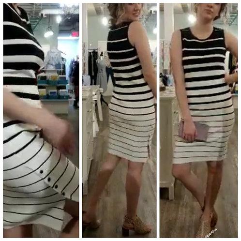 Alison Sheri black and white striped dress