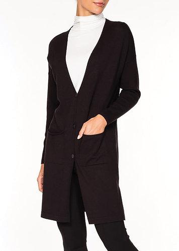 Alison Sheri Black Long Button Down Cardigan
