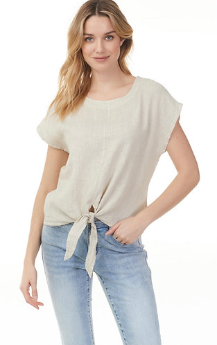 Charlie B Linen tie front blouse