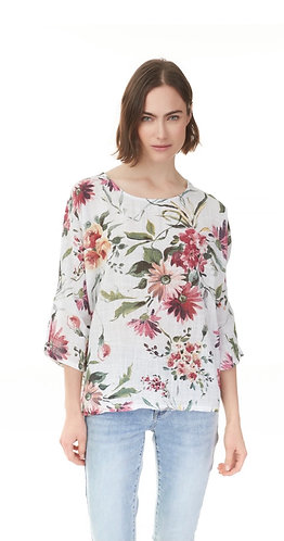 Floral linen blouse