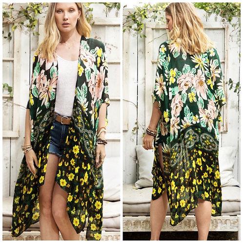 Green/yellow kimono one size