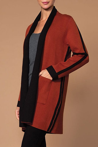 Elena Wang Cognac And Black Reversible Cardigan
