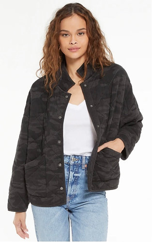 Z supply charcoal grey camo quilted jacket