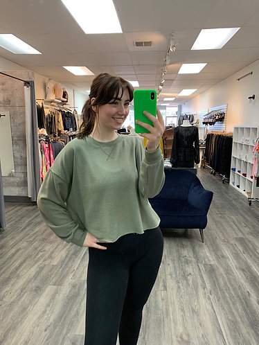 Z supply green terry sweater top