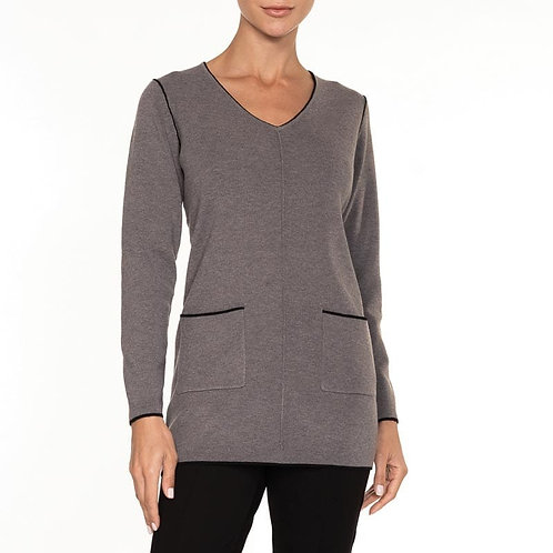 Alison Sheri Taupe V Neck Sweater With Pockets