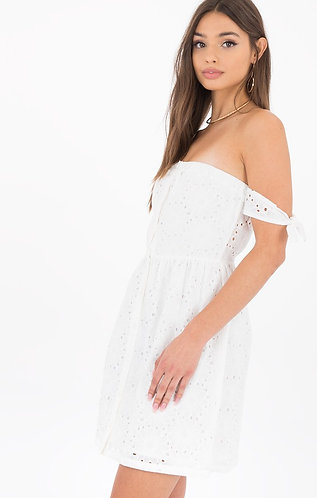 White lace off shoulder sundress
