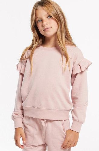 Z supply girls pink ruffle long sleeve top