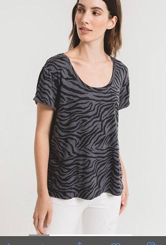 Blue/grey and black zebra t
