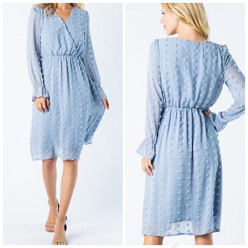Blue v neck dress with elastic waist