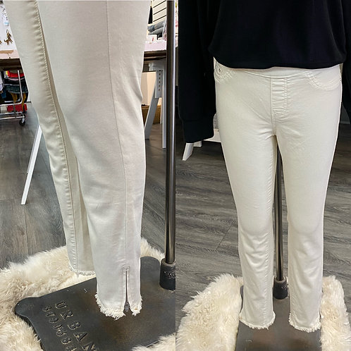 Bone coloured Charlie B pants with ankle zipper