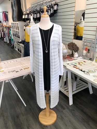 White Long Knit Cardi