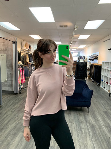 pink terry sweater top